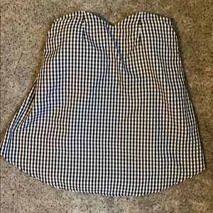Black and white gingham strapless top